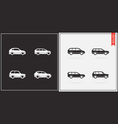 big set car icons in black and white vector image