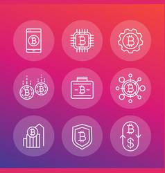 bitcoin investments payments icons linear style vector image