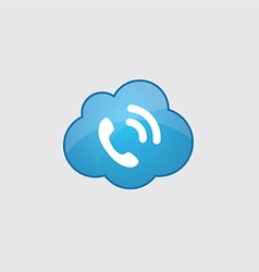 blue cloud call icon vector image