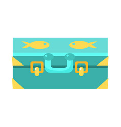 Blue suitcase for luggage with fishes object from vector