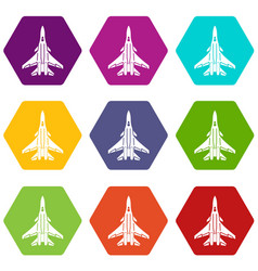 bomber icons set 9 vector image