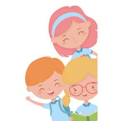 Boy and girls kid school design vector