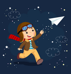 Boy wearing helmet and flying a paper plane vector
