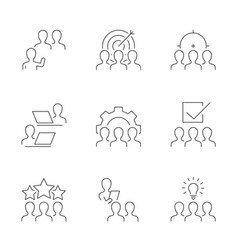 business team line icons on white background vector image
