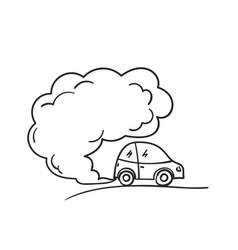 Cartoon car blowing exhaust fumes doodle smoke vector