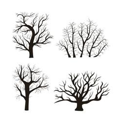cartoon silhouette black tree icon set vector image