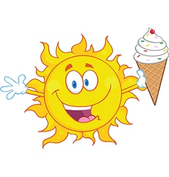 Cartoon sun with icecream vector