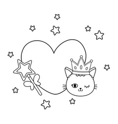 Cat and wand with heart black and white vector