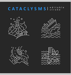 Cataclysms and natural disasters icon and vector