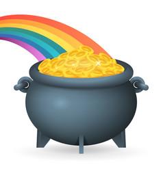 cauldron leprechaun treasure rainbow gold coins vector image