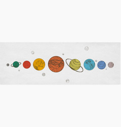 Colorful planets of solar system arranged vector