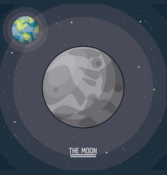 colorful poster of the moon in closeup with the vector image