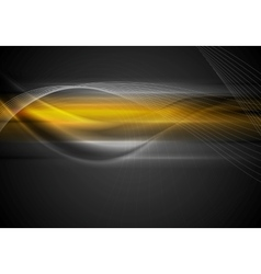 Dark abstract orange wavy background vector image