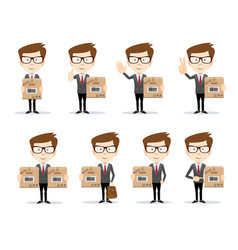 delivery concept businessman holding package vector image