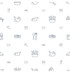 Dinner icons pattern seamless white background vector