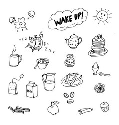 doodle good morning milk tea eggs pancakes vector image