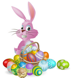 Easter eggs pink bunny vector