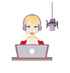 Female blonde Disc Jockey radio station vector