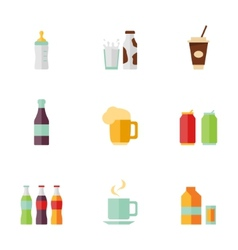 flat icons Drink set vector image vector image