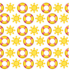 floats lifeguard and suns pattern vector image