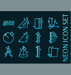 geometry set icons blue glowing neon style vector image