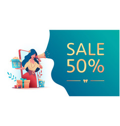 girl holds gifts sale discount speak in megaphone vector image