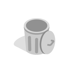 Gray trash can with open lid icon vector