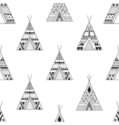 Hand drawn American native wigwams seamless vector