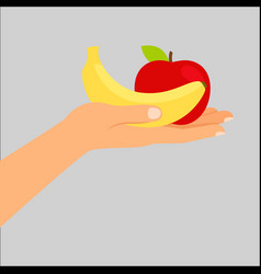 Hand holding banana and apple vector