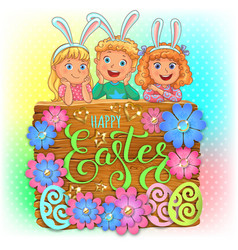happy easter wooden banner with paper flowers and vector image
