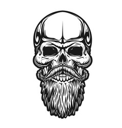 Hipster skull beard and mustaches barber icon vector