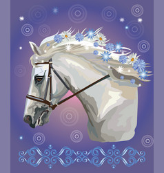 Horse portrait with flowers 31 vector