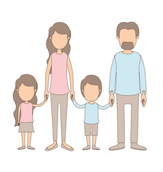 Light color caricature faceless family group with vector