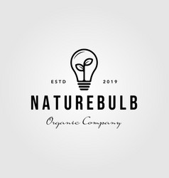 line art nature bulb logo icon vintage design vector image