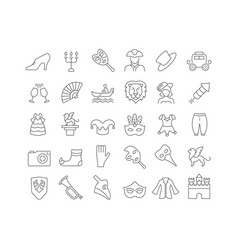 Line icons carnival venice vector