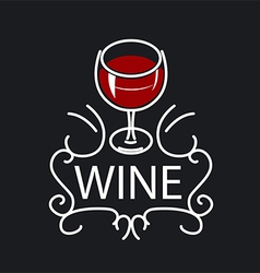 logo glasses of wine on a black background vector image