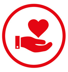 Love heart offer hand rounded icon vector