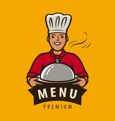 Menu logo or label happy chef with tray vector