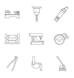 Metal processing profession icon set outline vector