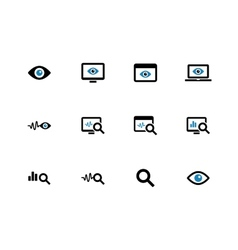 Monitoring duotone icons on white background vector image