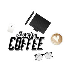 morning coffee laptop glasses cup of coffee white vector image