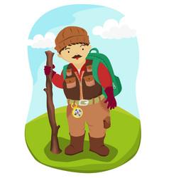 mountaineer hiking man vector image