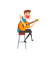 musician playing guitar singing guitarist vector image
