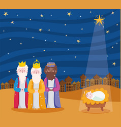 Nativity manger three wise kings and bajesus vector