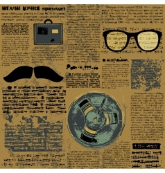 Newpaper with hipster elements vector image
