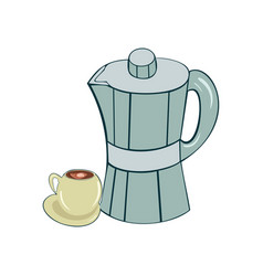 old-fashioned moka pot for brewing coffee with a vector image