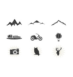 Outdoor adventure silhouette icons set surfing vector