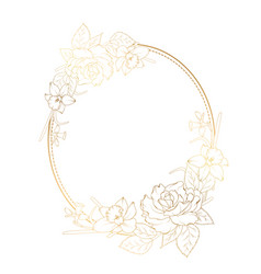 Oval frame rose peony narcissus daffodil flowers vector