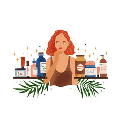 Pensive woman choosing organic cosmetics vector