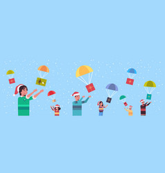 people catching gift present boxes falling down vector image